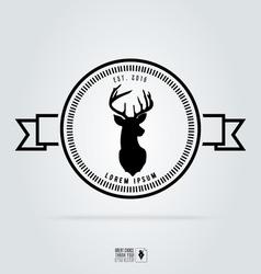 Badge labels hipster logo deer head Retro vintage vector image