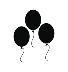 Balloons black simple icon vector