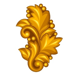 Baroque ornamental antique gold element on white vector