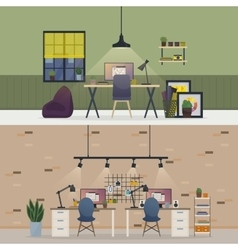 Basement office flat or room workspace interior vector