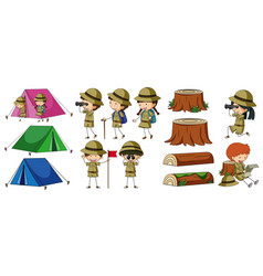 boyscouts and camping elements vector image vector image
