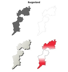 Burgenland blank detailed outline map set vector