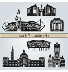 Cardiff landmarks and monuments vector