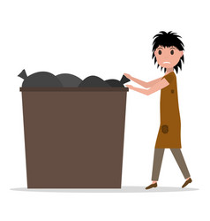 Cartoon hobo beggar jobless woman dumpster vector