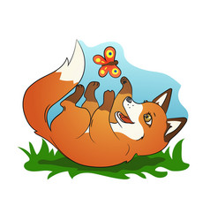 cute little fox playing with butterfly vector image vector image