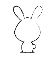 Cute rabbit silhouette isolated icon vector