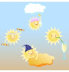 Day of healthy lifestyle sun shower gym cocktail vector