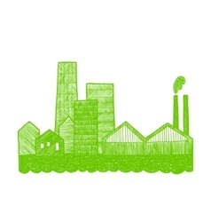 Eco city silhouette vector image