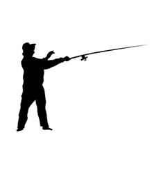 Fisherman silhouette black vector