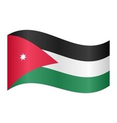 Flag of Jordan waving on white background vector image