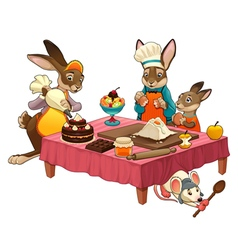 Funny cooking scene with rabbits making sweets vector