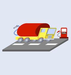 Gasoline truck flat skew icon vector