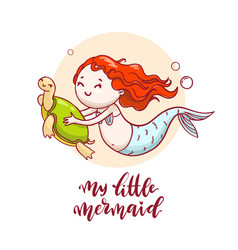 hand drawn mermaid swimming with turtle vector image