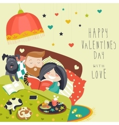 Happy couple in bed with cats and dog vector