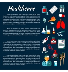 Healthcare banner design with flat medical icons vector