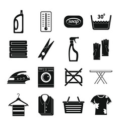 Laundry icons set simple style vector