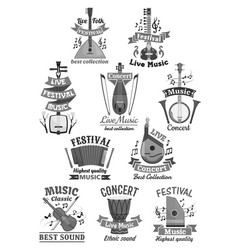 live music icons and musical instruments vector image