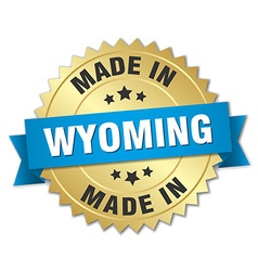 Made in wyoming gold badge with blue ribbon vector