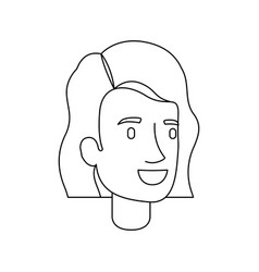 Monochrome silhouette of woman face with short vector