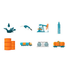 Oil industry icons in set collection for design vector