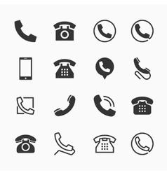 Phone icons set of 16 telephone symbols vector image