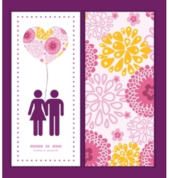 pink field flowers couple in love silhouettes vector image