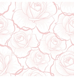 Pink outline roses on white seamless pattern vector