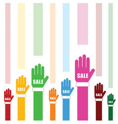 sale on hands set in color vector image vector image