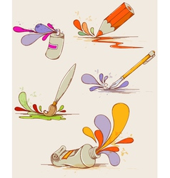 set of hand drawn paints and pencils vector image vector image