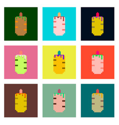 Set pixel icons of french hot dog vector