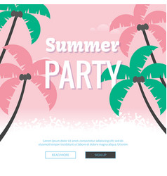 Summer party poster colorful sea vacation concept vector