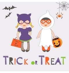 Trick or treat halloween card with two kids vector