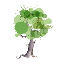 watercolor tree vector image