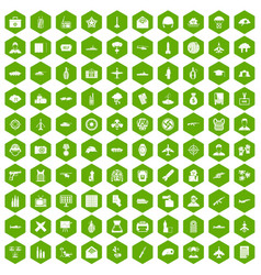 100 military journalist icons hexagon green vector
