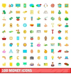 100 money icons set cartoon style vector