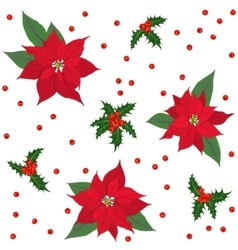 Red poinsettia flowers and holly berry christmas vector