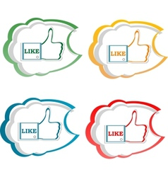 set of like stickers label with hands vector image