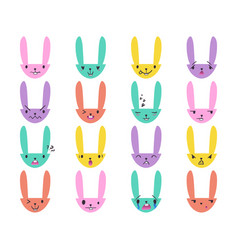 Rabbit handdrawn emoticons color 3 vector