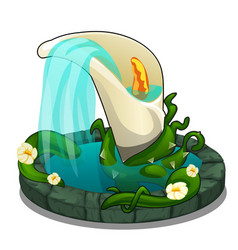 Fountain with water flowing from flower calla vector