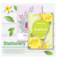 Summer scene with colorful notebooks vector