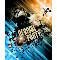 Club disco flyer template with music elements vector