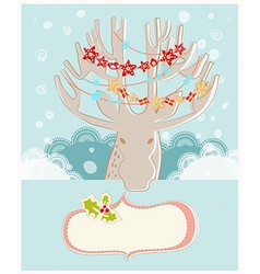 Christmas reindeer new year greeting card vector
