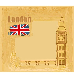 Grunge banner with big ben in london vector