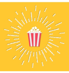 Popcorn bag shining effect flat vector