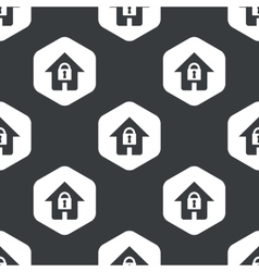Black hexagon locked house pattern vector