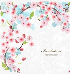 Cute invitation card with blossom cherry with love vector