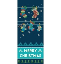 Merry christmas banner with socks in knitted style vector
