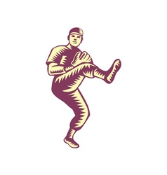 Baseball pitcher throwing ball woodcut vector