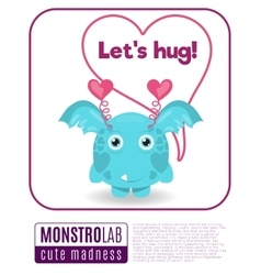 A monster saying lets hug vector
