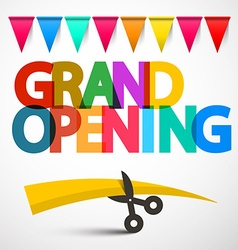 Grand opening colorful title with scissors ribbon vector